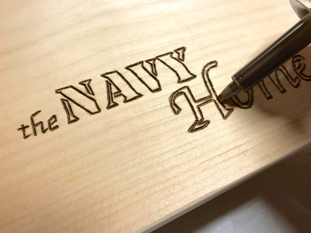 how to wood burn a logo on a serving tray