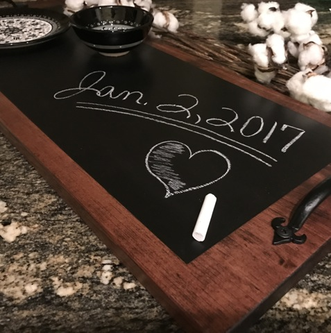 diy chalkboard serving tray, handmade wedding gift