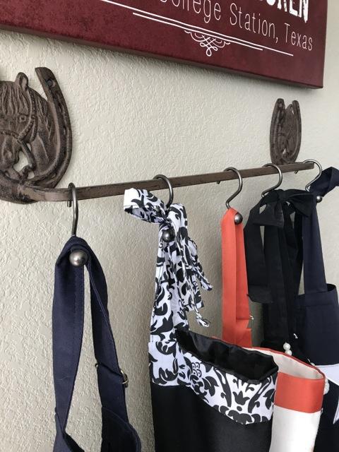 thrifty kitchen apron hooks, how to hang kitchen aprons, farmhouse apron hooks